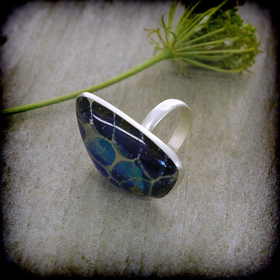 RESERVED FOR JANET - Cobalt Cellular Lampwork Glass Sterling Silver Ring