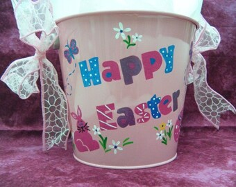 Easter Basket - Personalized Easter Bucket - Happy Easter with Pink Rabbit - Handpainted - OOAK Easter Spring Decor, Pink Bucket for Girl