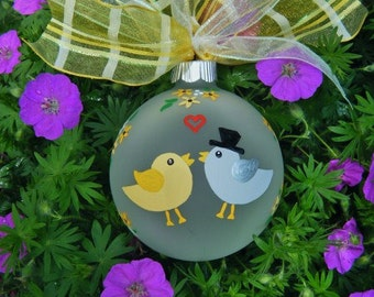 Wedding Ornament - Lovebirds - Personalized Wedding, Hand Painted Ornament, Just Married Christmas Bauble, Wedding Gift, Yellow Birds