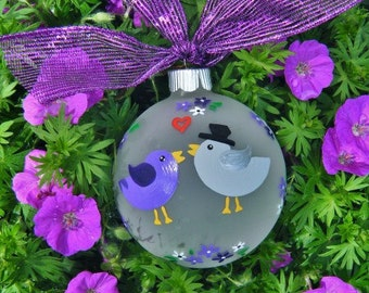 Love Bird Wedding Ornament - Personalized Hand Painted Glass Christmas Ornament - Purple Lovebirds, Wedding Gift, Couples Gift, Anniversary