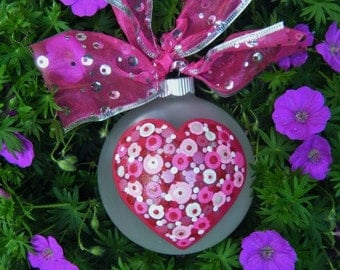 Heart Ornament, Personalized Heart - Wedding Gift,  Engagement, New Baby - Just Married Gift for the Couple, Hand painted Valentine Gift
