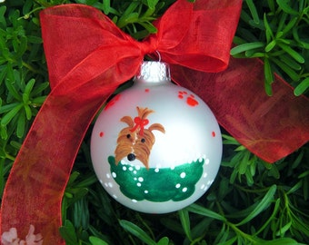 Yorkshire Terrier Ornament - Dog Groomer Gift - Personalized Hand painted Glass Ball Keepsake - Dog Lover - pet grooming christmas bauble