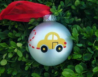 VW Beetle Personalized Christmas Ornament - Hand Painted Yellow Car Ornament, First Car, New Driver, Graduation, Going to College, Car Lover