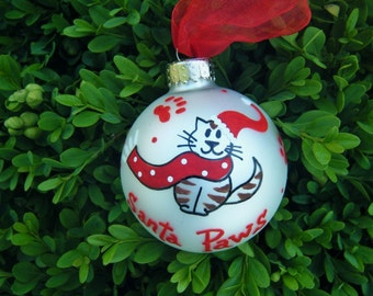 Santa Paws Cat Ornament - Personalized Hand painted Christmas Ornament Personalized Pet Bauble, Striped Kitty Cat Santa Claus, Pet Lover