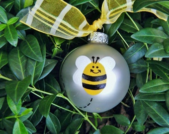 Bumble Bee Ornament - Personalized Handpainted Glass Christmas Bauble - Bumble Bee Baby Shower, Baby Nursery, Bumble Bee Party Momento