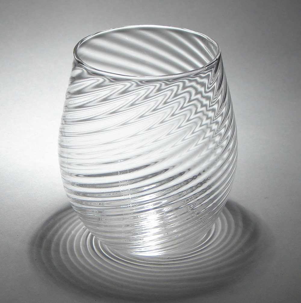 Hand blown stemless wine glass with clear twisted by cascobayglass - Hand blown stemless wine glasses ...