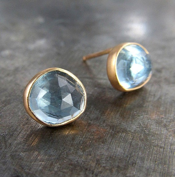 SAMPLE SALE - Rose Cut Aquamarine and Recycled 14k Gold Stud Earrings