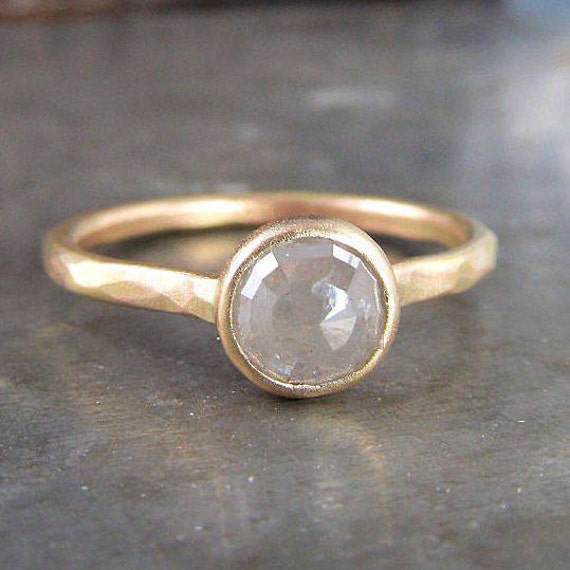 One of a Kind Recycled 14k Gold and Rose Cut Silver Diamond Ring - .96 carats