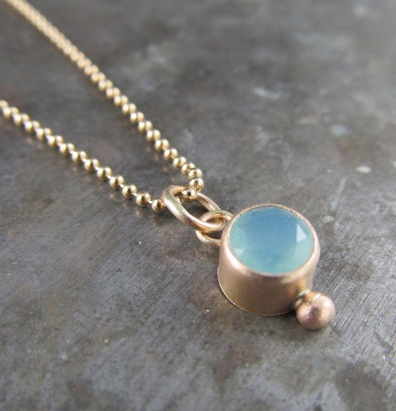 RESERVED for Amy Striker - Recycled 14k Gold and 5mm Blue Peruvian Charm Pendant - Limited Edition