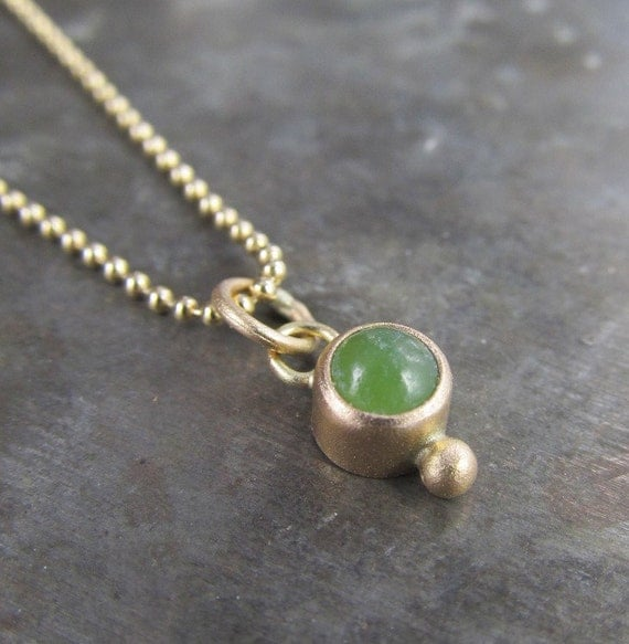 Recycled 14k Gold and 4mm Jade Charm Pendant