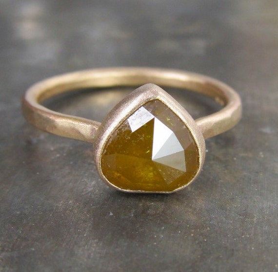 OOAK 8mm Rose Cut Caramel Diamond Ring in 14k Recycled Gold - 1.45 carats