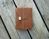 Rustic Leather Journal Made in Vermont, Real Antler Button