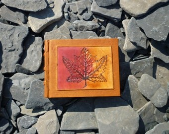 Maple leaf leather journal, Diary, Notebook Sketchbook Hand Bound