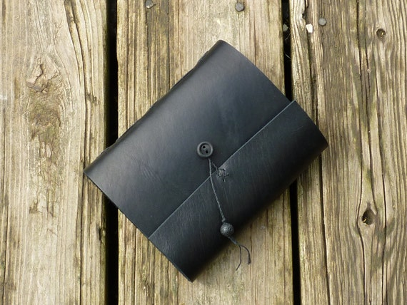 Little Black Book, Black Leather Journal, diary, notebook with black pages Includes silver pen