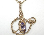 Wire Wrapped Natural 1.55ct Tanzanite Pendant & Necklace 14K Rolled Gold