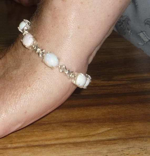 Genuine White Opal Bracelet Sterling Silver 7 Inches