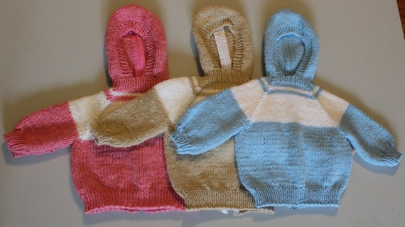 Knitted Hooded Infant Sweater with Back Zipper  Blue, tan or pink Size 3 months   137
