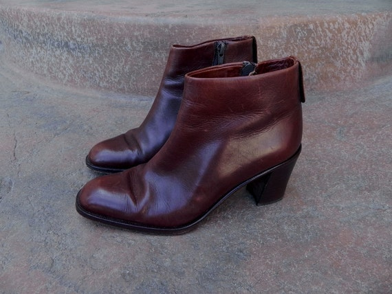 Size 6 - 1990s Dark Brown Leather Chunky Heel Ankle Boots