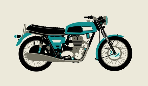 BLUE 1970 MOTORCYCLE