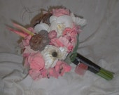 BALANCE DUE LISTING for Amanda-----Coral, cream and black bridal bouquet with matching groom's boutonniere