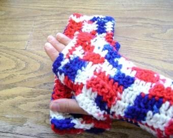 Fingerless gloves - Red white and blue