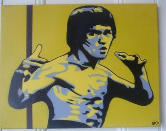 Bruce Lee kill bill,painting on canvas,stencils,spray paints,yellow,black,kung fu,karate,martial arts,movies,enter the dragon,wall art,urban