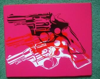 warhol pop guns,stencil painting on canvas,Andy Warhol,pinks, white,red,black,revolver,Pop art,pistols,spray paint art,Street art,abstract