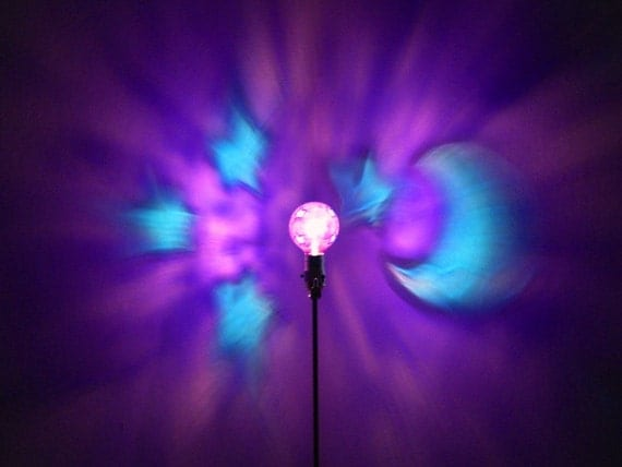 Hand-Painted Purple Moon & Stars Mood-Light Bulb 4 Burning Man )'( Playa, Birthday, NightLight, Party, Dorm Room, Kids Lamp, Baby Shower