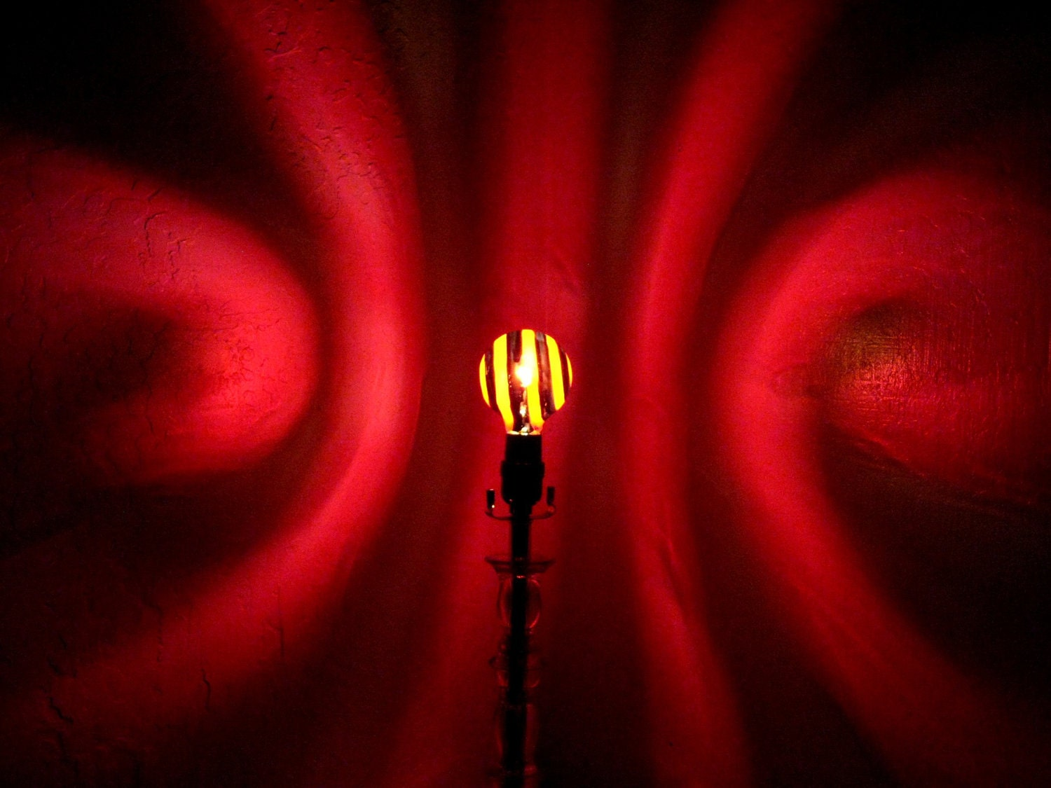 hand painted red spiral mood light bulb 4 night by moodlights
