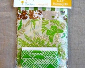 SAMPLE SALE - DIY Bunting Kit - Green Fern and Butterfly Flag Garland - Vintage Bed Sheets