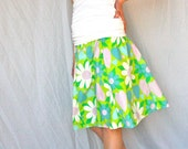 Upcycled Women's Skirt - Peace Love Happiness - Handcrafted with Love from Vintage Bed Sheets