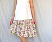 Happy Summer Skirt - Morning Glories - Women's L - Handcrafted with Love from Vintage Materials