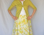 Women's Upcycled Skirt - Citron - Handcrafted with Love from Vintage Bed Sheets