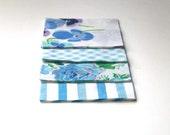 "Vintage Bed Sheet Charm Pack - Violet Purple and Blue - 24 5x5"" squares"