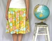 Women's Modest Skirt - World Traveler - Upcycled from Vintage Linens