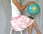 Women's Swing Skirt - Pink Macaron - Upcycled from Vintage Linens