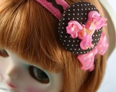 Pink and Brown Blythe Headband, Fascinator, Hair Accessory - cute hair accessories - polkadots polka dot, carousel, horse, circus, bow