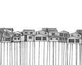 A5 Giclee Print  - Houses