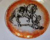 Super Sale Price! Cake Dessert Plate Horse Sketch Hand Painted Serving Plate