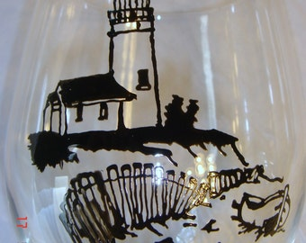 Lighthouse Hand Painted Wine Glass Black Ink Sketch Look Made to Order