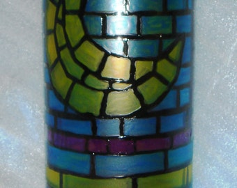 Solstice Equinox Sale Price Vase Hand Painted Glass Celestial Stained Glass Look Sun Moon