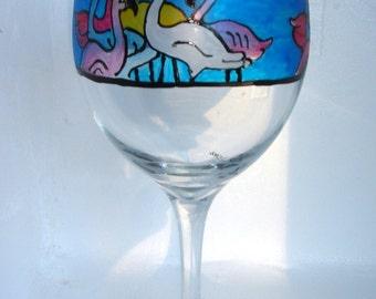 Wine Glass Hand Painted Flamingo Design