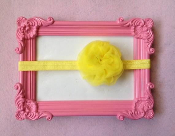 Yellow Tulle Puff Flower on Elastic Headband