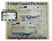 Custom Camper potholder made to match your camper, featured in book by Mary Jane Butters, Glamping with Mary Jane