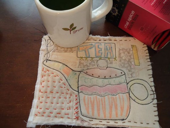 Coaster, Mug Rug, Tea,  art quilt