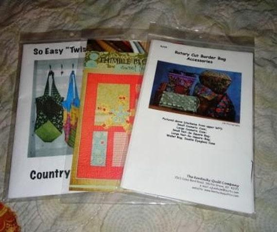 3 Patterns, Quilt , totes,make-up bags etc...DIY