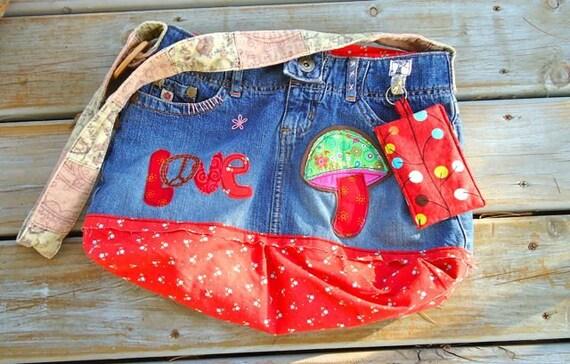 Hippie,hobo denim Love bag, upcycled purse