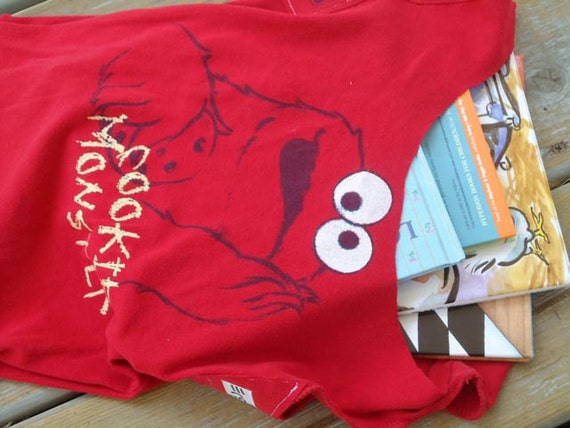 Eco-friendly, Recycled t-shirt Bag, for beach, travel or library, Cookie Monster