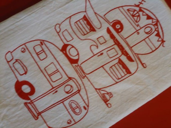 Flour Sac dish towel, Stacked Campers in Red