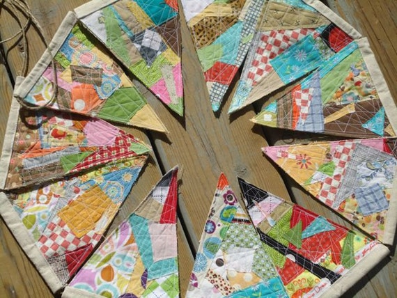Bunting flags, for parties and celebrations, Colorful patchwork